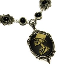 Steampunk Goth Jewelry - Necklace - Top Hat Skeleton Gentleman - Silver-tone by CatherinetteRings, $54.00