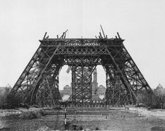 The Eiffel Tower, Paris The iconic framework calls the city of love and romance it's home and this photograph shows the base being built in 1888. The landmark that stands 300m high was finally finished in 1889.