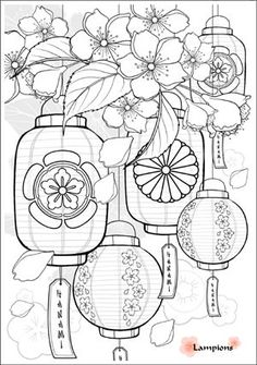 Trendy Flowers Drawing Doodles Mandalas Adult Coloring Pages Ideas Adult Coloring Pages, Coloring Books, Colouring, Art Floral, Lantern Drawing, Doodle Coloring, Chinese Lanterns, Japanese Paper Lanterns, Flower Doodles