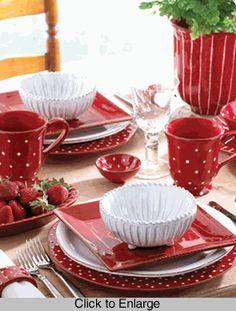 Table Setting In Red - Rosso Vecchio Dot Dinnerware - Vietri