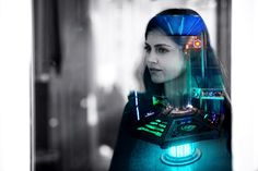 Clara Oswald and the TARDIS console.  Jenna-Louise Coleman. Doctor Who.