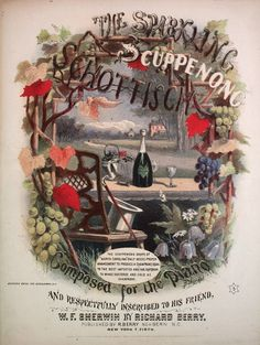 1869 The Sparkling Scuppenong Schottisch champagne song sheet music cover