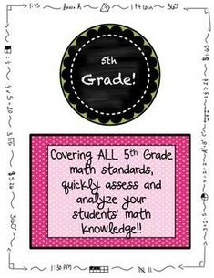 This product is designed for a quick morning work at the beginning of the year in order to assess your new smiling faces on where they are on the 5th grade math standards. The pre-assessment is set up to take over a quick few minutes for 5 days. Each day,