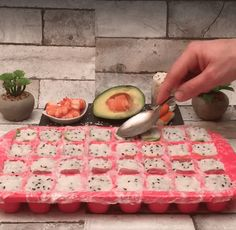 Add Rice, Salmon, And Avocado To An Ice Tray - Then Flip It Over For A Unique Dinner To Die For <br> Turns out you don't need to be an expert chef to make your own sushi. Make Your Own Sushi, How To Make Sushi, Making Sushi At Home, Diy Sushi, Sushi Sushi, Sushi Roll Recipes, Cube Recipe, Guacamole, Ice Tray