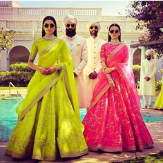 Vibrant lehenga colors for dusky beauties to steal the wedding limelight in style. 6 elegant lehenga designs chosen for dark skinned brides. Lehenga Designs, Indian Dresses, Indian Outfits, Ethnic Outfits, Sonam Kapoor Wedding, Indian Bridal Lehenga, Indian Sarees, Pakistani, Engagement Dresses