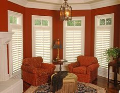 without covering transom  Plantation Shutters - traditional - family room - nashville - Advantage Shutters