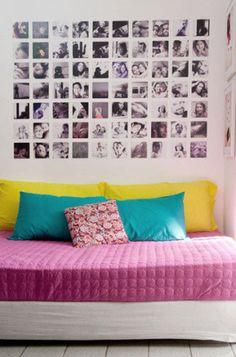 Quando Eva Caroline, do blog As Peripécias de Eva, se deparou com a parede em branco, não teve dúvidas: imprimiu 70 fotos que retratam momentos especiais de sua vida e montou um painel que chama a atenção de todos que entram em seu quarto.