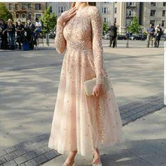 designer dresses tea length with long sleeves sequins lace .- designer dresses tea length with long sleeves sequins lace - Hijab Evening Dress, Hijab Dress Party, Evening Dresses, Party Dresses, Sexy Dresses, Beautiful Dresses, Fashion Dresses, Casual Dresses, Modest Prom Dresses