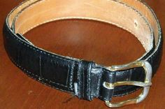 """Paul Lawrence Black Leather Belt Fits 25"""" to 29"""" Waist Free Shipping"""