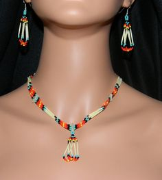 Native American Handmade Quill and Beaded Necklace by LakotaCharm, $35.00