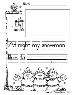 Snowman at night writing Snowman writing for kindergarten. Kindergarten Language Arts, Kindergarten Writing, Kindergarten Activities, Writing Activities, Winter Activities, Kindergarten Christmas, Preschool Winter, Kindergarten Teachers, Stem Activities