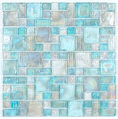 Iridescent Glass Mosaic Tile Pale Blue Random Blend is face mounted on a 12 inches by 12 inches clear tape sheet for an easy installation. Each individual tile chip is 8mm thick. Iridescent glass tile