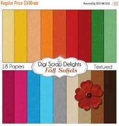 50% OFF TODAY Autumn Fall Digital Papers for Digital Scrapbooking, Fall Card Making, Brown, Orange, Gold, Blue, Purple Linen Textured