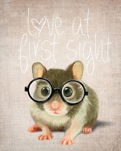 A small mouse with glasses on a rustic background (print 10x12) Illustration fine art giclée prints