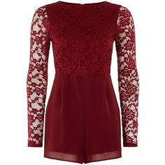 New Look Teens Burgundy Lace Long Sleeve Playsuit ($24) ❤ liked on Polyvore featuring jumpsuits, rompers, romper, burgundy, long-sleeve romper, long sleeve romper, long sleeve lace romper, red rompers and red lace romper