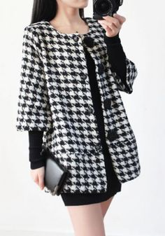 Vintage Scoop Neck 3/4 Sleeves Plaid Wool Coat For Women