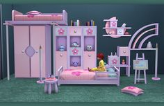 ***Little One*** TS4 Includes 14 objects: bed for toddlers, 3 storages, 2 functional shelves, dresser with a fake bunk bed, coffee table, big decorative pencil, 2 decorative toys, decorative baby...