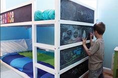 Cool and Playful IKEA Kura Bed Hacked into Bunk Bed with Chalkboard Ikea Bunk Bed Hack, Kura Bed, Kura Hack, Painted Bunk Beds, Kids Bunk Beds, Diy Bed, Kids Bedroom, Lego Bedroom, Attic Bedrooms