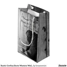 Rustic Cowboy Boots Western Wedding Thank You Small Gift Bag