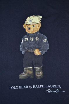 005f832fe31f8 Vintage 90s POLO BEAR By Ralph Lauren stadium P Wing LS sport rare T-shirt