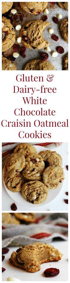 Gluten-free & Vegan White Chocolate Craisin Oatmeal Cookies Dessert Recipe by AllergyAwesomeness (Top 8 free too!)