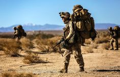 """Marines with Battalion, Marines patrol towards their objective during an airfield seizure exercise as a part of Exercise Steel Knight 2014 aboard…"" Us Marine Corps, Us Marines, Usmc Recruiting, Barbary Wars, We Are The Mighty, Once A Marine, Tactical Backpack, Military Photos, Figurine"