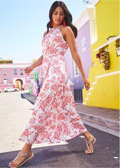 cfb77068b9 Długa sukienka z paskiem biel wełny - jasny koralowy w kwiaty • 149.99 zł •  bonprix