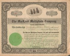 MacLeod Multiplane stock certificate (1911) ITASB Malcolm MacLeod