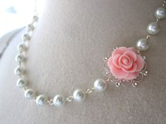 Items similar to Bridesmaids Jewelry Gift - Pink Flower Necklace - wedding Jewelry - Pink White pearls necklace - shabby chic - victorian on Etsy Clay Jewelry, Jewelry Gifts, Beaded Jewelry, Beaded Bracelets, Necklaces, Jewellery, Bridal Necklace Set, Flower Necklace, Flower Jewelry