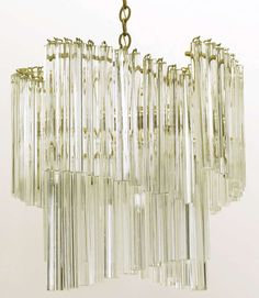 """Exceptional Venini Spiral Chandelier With 12"""" Long Crystals 