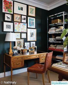 home office wall colors black walls with white trims and wall art : Great Home Office Wall Colors. home office color schemes,home office design,home office paint colors,office paint color ideas,paint home office Home Office Inspiration, Decoration Inspiration, Room Inspiration, Decor Ideas, Dark Walls, Blue Walls, White Walls, Office Walls, Office Decor