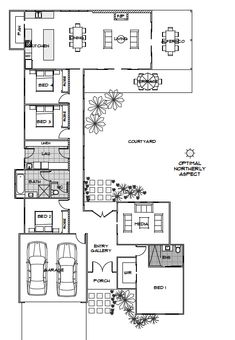 Elara Home Design Energy Efficient House Plans Green Homes Australia U Shaped House Plans, U Shaped Houses, The Plan, How To Plan, Dream House Plans, House Floor Plans, House Plans Australia, Passive Solar Homes, Casa Patio