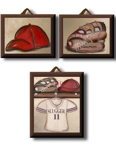 Vintage Baseball Collection of Personalized Nursery Artwork Giclee Canvas