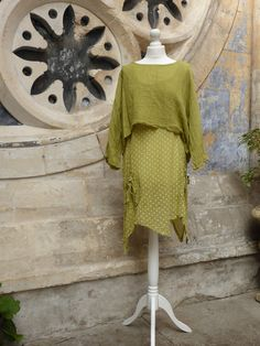 Lovely, summery Italian Style cotton tunic /dress with loose linen mix top. Made in Italy, Pomegranate Ladies Clothes Shop, Clifton, Bristol.