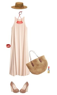 """""""Raffia Hat"""" by polylana ❤ liked on Polyvore featuring Michael Kors, J.Crew, Jessica Simpson, Marni, Tuleste and Elizabeth Arden"""