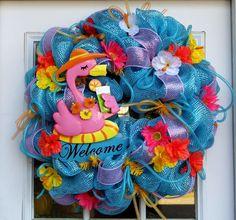 Flamingo Welcome Mesh Wreath For Door doors, beaches, seahorses, fish, flamingos, flowers, mesh wreaths, blues, summer wreath