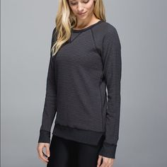 Lululemon Open Your Heart LS ll Lululemon Open Your Heart LS ll, size 8, good condition with no flaws, reversible, gray on one side and dark/light gray stripes on the other side. Super cute and cozy!! Bundle to save ends Sunday lululemon athletica Sweaters