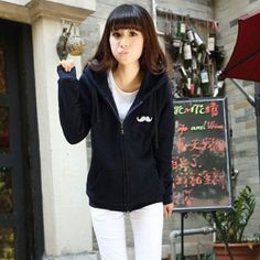 J41734 Autumn mustache pattern hooded fleece coat blue