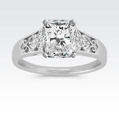 Vintage Trio Accent Diamond Engagement Ring