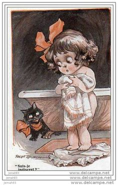 Comic Postcard by Spurgin Lucky Black Cat Children Humour Vintage Pictures, Old Pictures, Vintage Images, Cute Pictures, Vintage Drawing, Children Images, Cute Cards, Vintage Children, Vintage Postcards