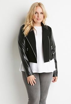 Plus Size Faux Leather-Sleeved Jacket | Forever 21 PLUS - 2000162891