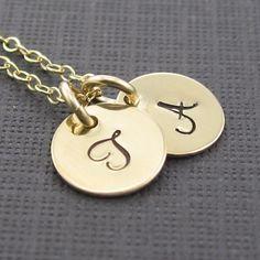 Double Initial Engraved Pendant Necklace por prolifiquejewelry, $42.00