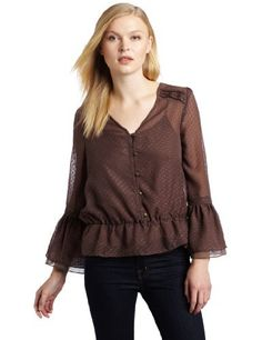 Sanctuary Clothing Women's Toby Peplum Shirt, Espresso, Medium Sanctuary. Save 70 Off!. $31.89. includes matching cami. Machine Wash. polyester. Made in China. Ruffle sleeve detail