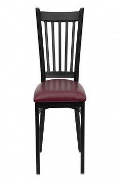 Flash Furniture Hercules Series Vertical Back Metal Restaurant Chair Seat  Color: Burgundy Vinyl   XU