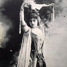 Antique theatre photo postcard, oriental costume, 1900s- Tiphaine