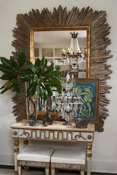 What about that crystal candelabra I saw at Central for this look...? Foyer Decorating, Interior Decorating, Decorating Tips, Interior Design Inspiration, Home Interior Design, Design Ideas, Starburst Mirror, Transitional House, Beautiful Mirrors