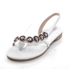 Charm Foot Fashion Rhinestone Womens Thong Toe Flat Sandal * You can find more details by visiting the image link.
