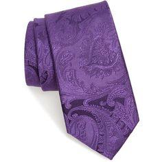Men's Nordstrom Paisley Silk Tie (3.200 RUB) ❤ liked on Polyvore featuring men's fashion, men's accessories, men's neckwear, ties, dark purple, mens paisley ties, mens ties and mens silk ties