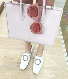 Candice Lake carries The Strathberry Midi Tote in Dusky Pink