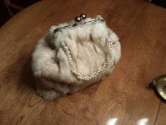 Recycled Rex Rabbit cream/brown fur purse with beaded handle EASTER SALE WAS 99 on Etsy, $87.53 AUD